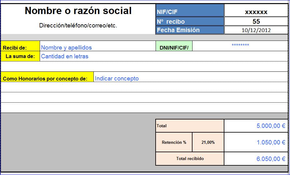 Modelo recibo for Nomina en blanco para rellenar word