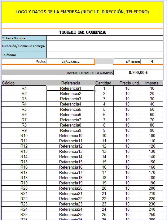 ticket compra excel gratis