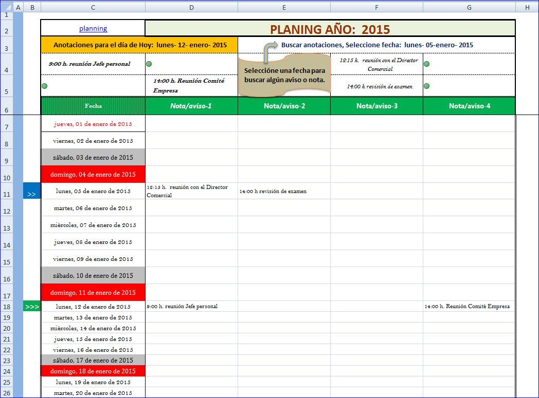 1048 x 775 png 71kB, Planning – Agenda en hoja de excel