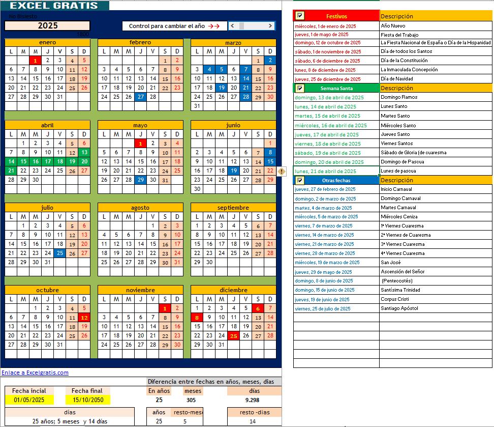 Calendario Perpetuo Semana Santa.Calendario Perpetuo Excel Gratis