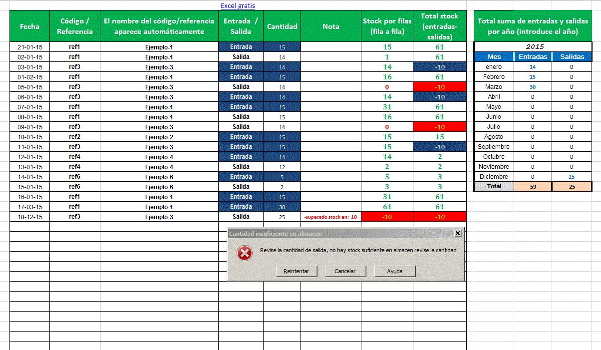 Hoja De Excel Control Stock U Otros Datos Excel Gratis