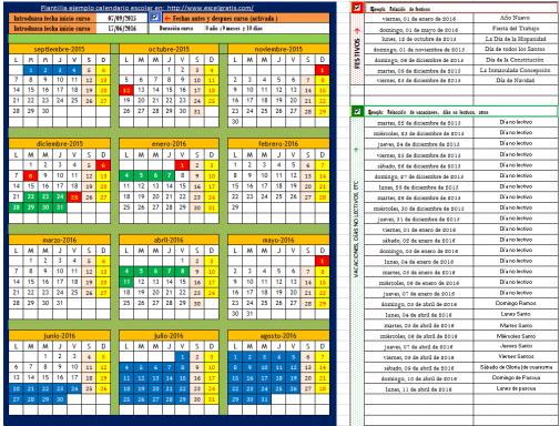 Plantilla ejemplo calendario escolar