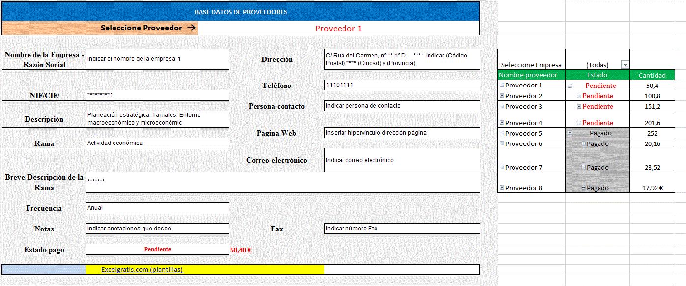 Listado de proveedores en hoja de Excel