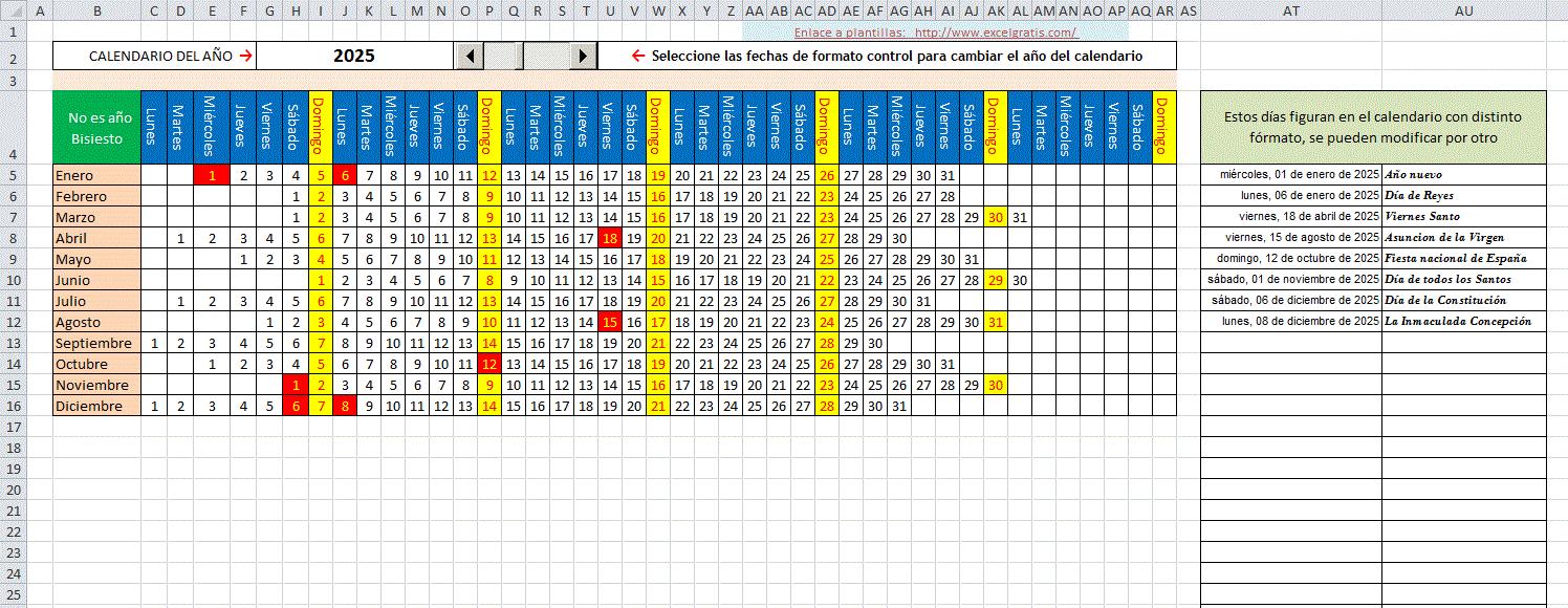 Plantilla de calendario mensual horizontal : Excel Gratis