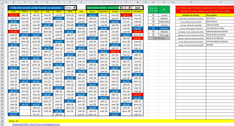 Plantilla calendario con selección del día