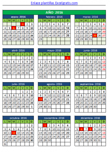 calendario pequeño