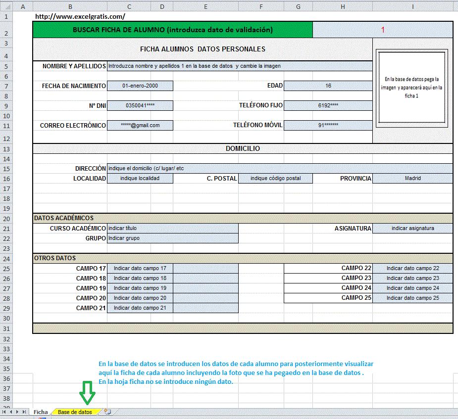 Plantilla De Alumnos Con Foto Excel Gratis