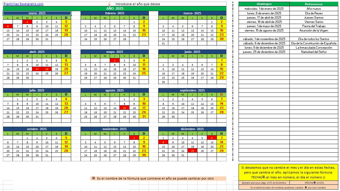 Plantilla calendario : Excel Gratis