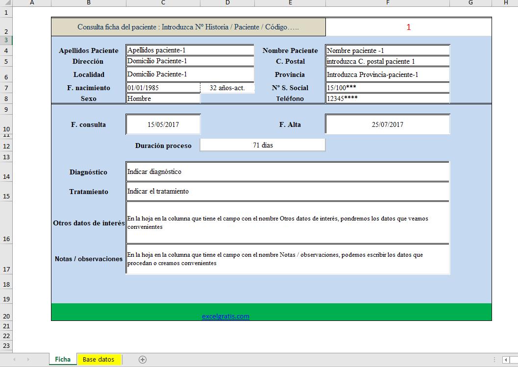 Plantilla base datos de pacientes : Excel Gratis