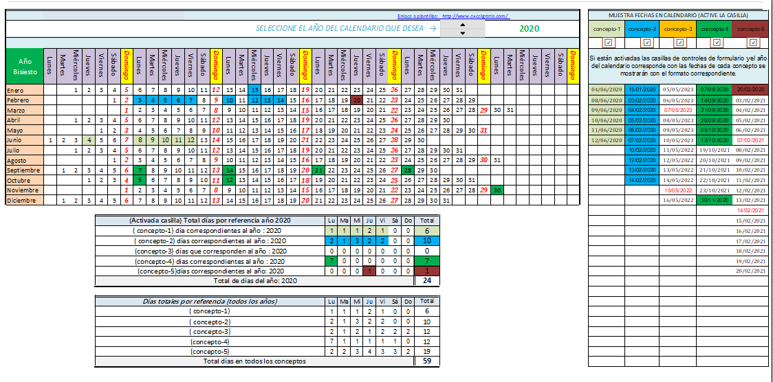Calendario 2020 Excel.Muestra Los Dias De Cada Concepto Con Diferente Formato En